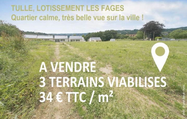 Tulle Lotissement les Fages 3 terrains viabilisés à vendre