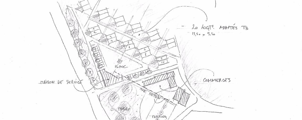 plan esquisse du projet de pôle commercial