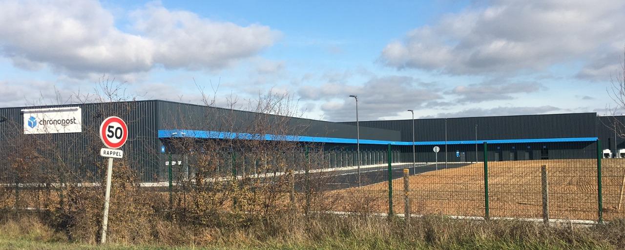 construction de la nouvelle plateforme logistique de chronopost à Brive, nouveau quartier Laroche